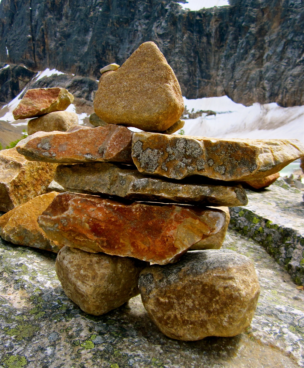 An Inukshuk Built by a Hiker in the Rocky Mountains