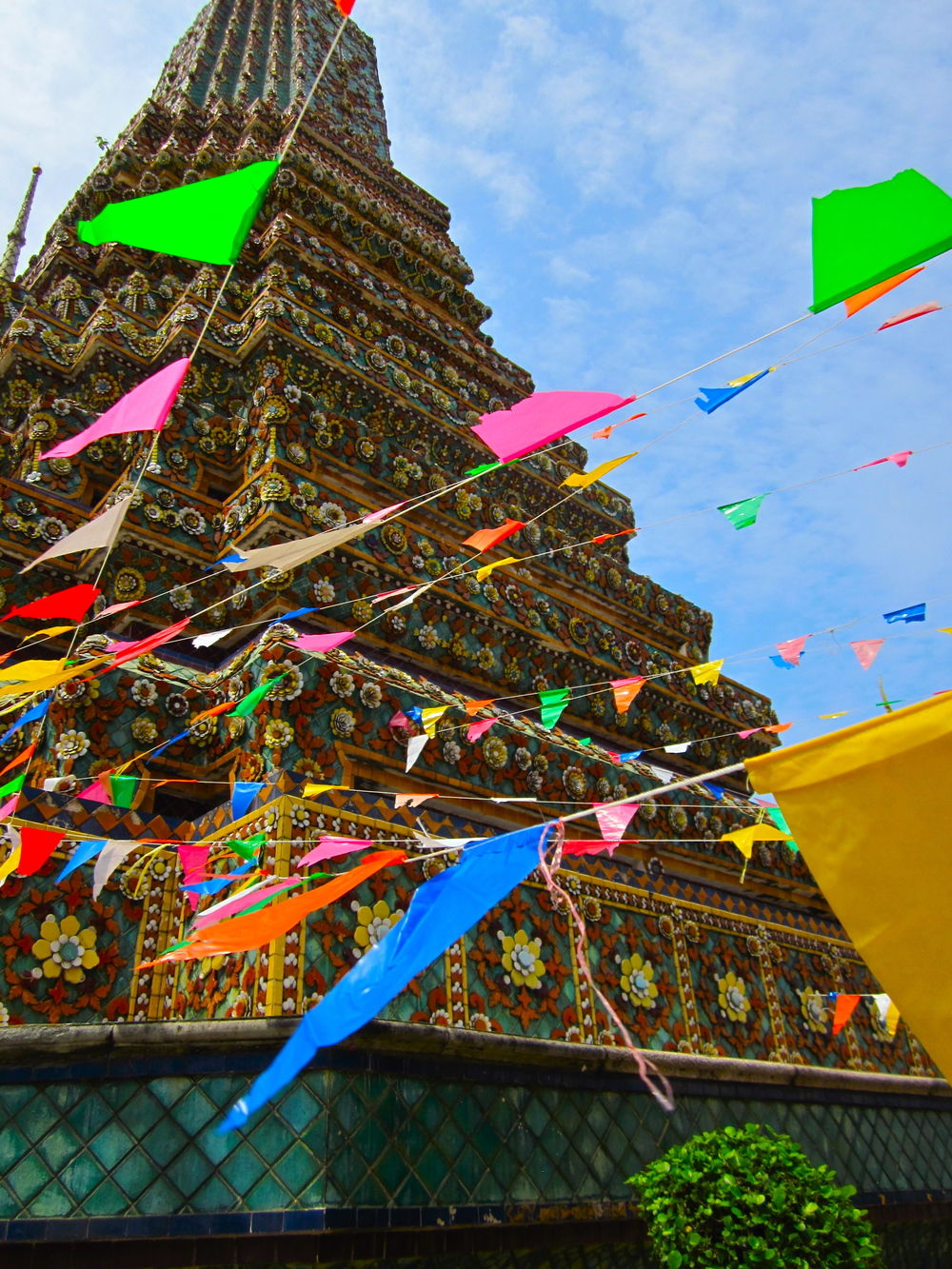 Decorations strung up at the Wat Pho temple in Bangkok, Thailand