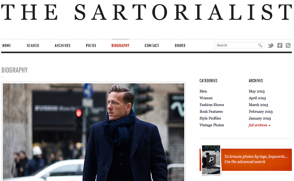 Screen shot of Scott Schuman's website The Sartorialist
