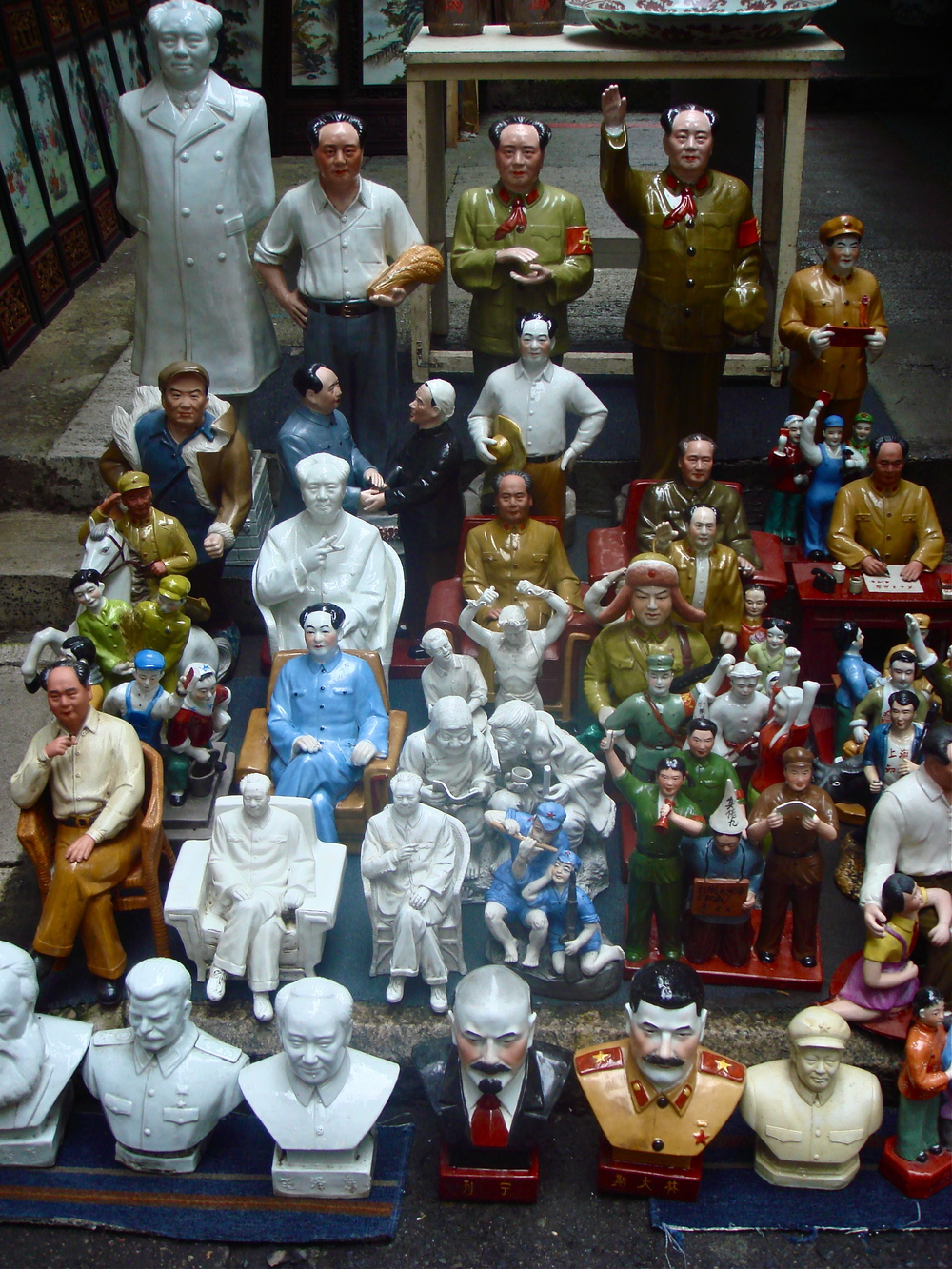 Figures of Mao at a street market in Hong Kong