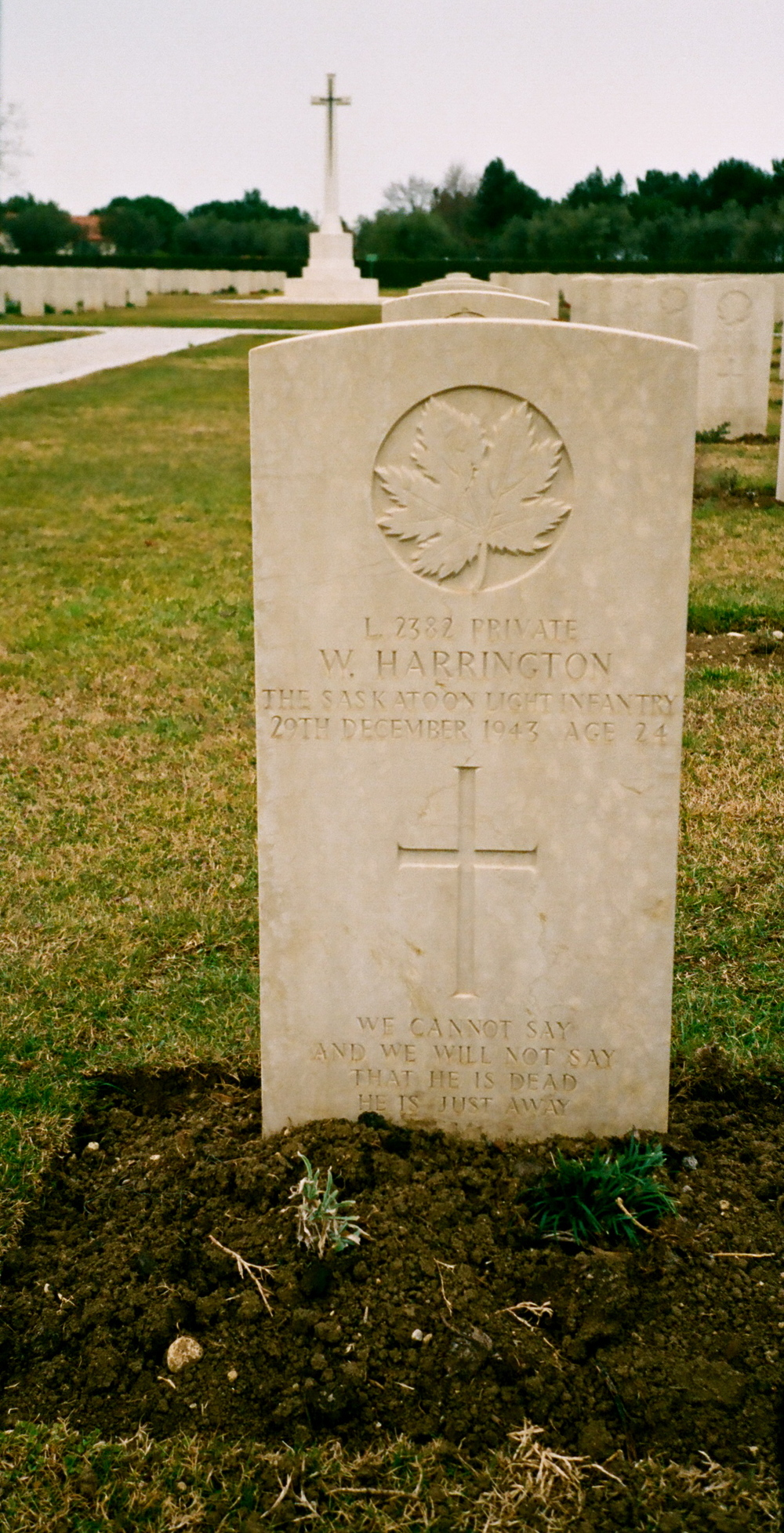 "The gravestone of Private W. Harrington Age 24  ""We cannot say and we will not say that he is dead he is just away"""