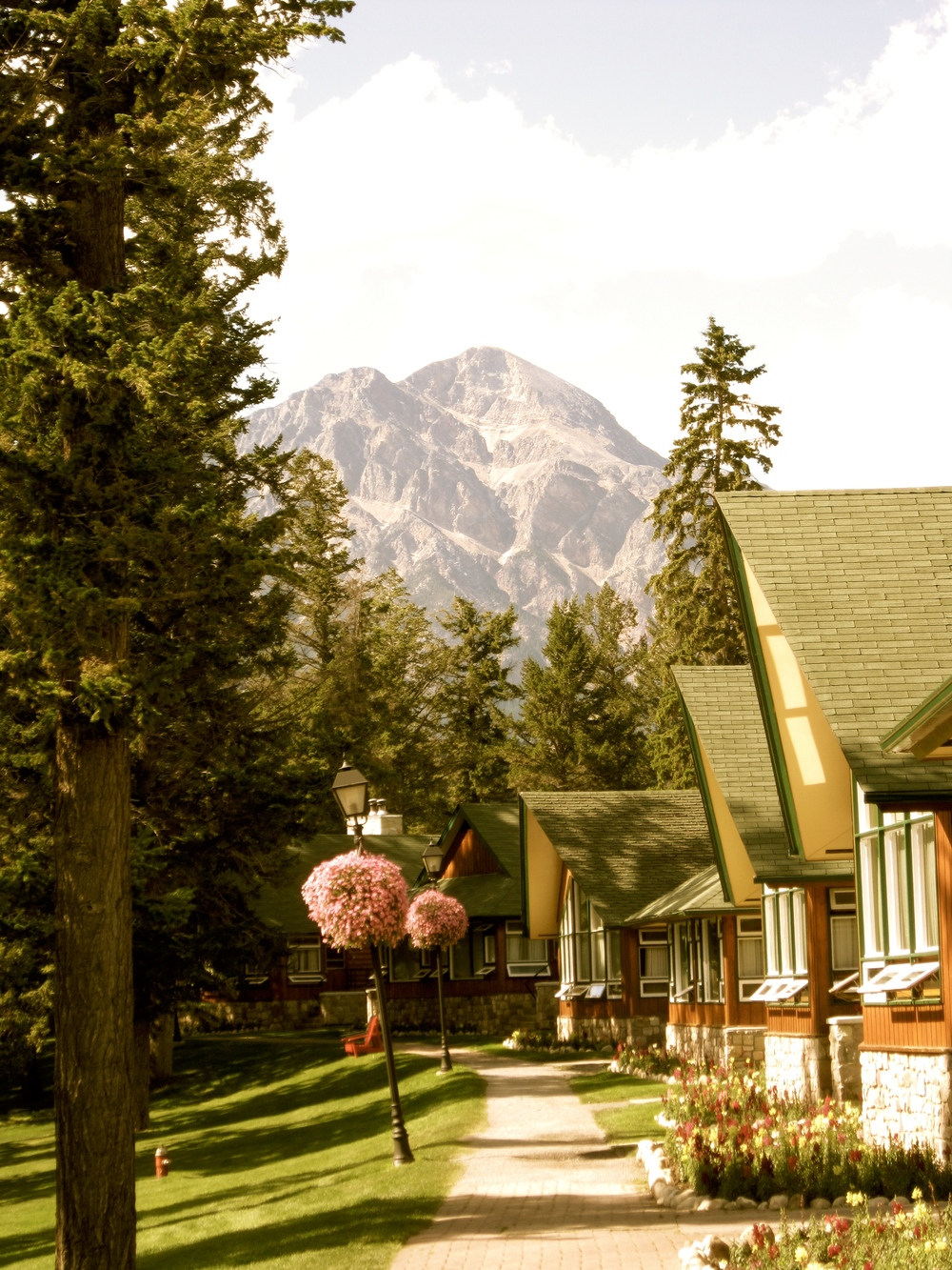 The lakeside chalets at the historic Farimont Jasper Park Lodge in Jasper, Alberta, Canada