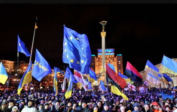 The peaceful protest in Independence Square in Kiev, December 2013 (source)