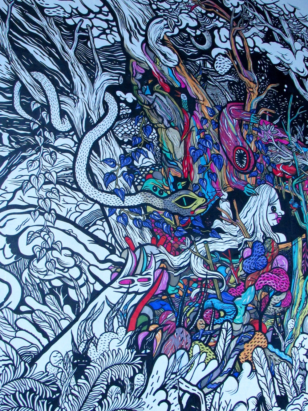 A Strange Dream by Edmonton artist Jill Stanton (a small portion of the massive piece is pictured) is on display at the Art Gallery of Alberta until December 2014.