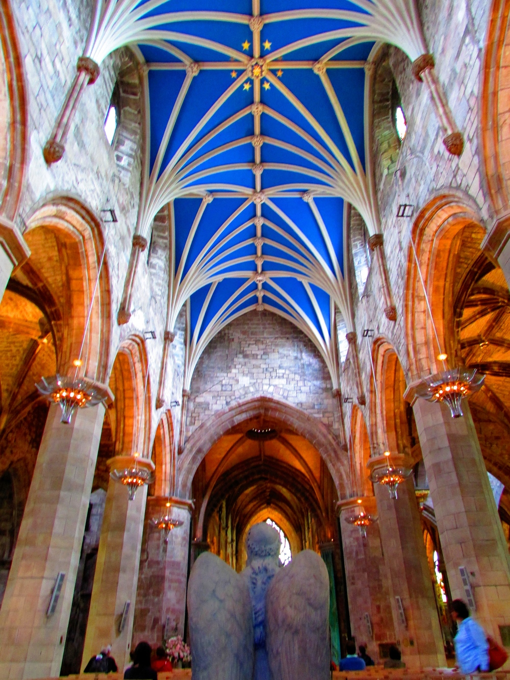 The stunning central aisle of St. Giles Cathedral in Edinburgh, Scotland