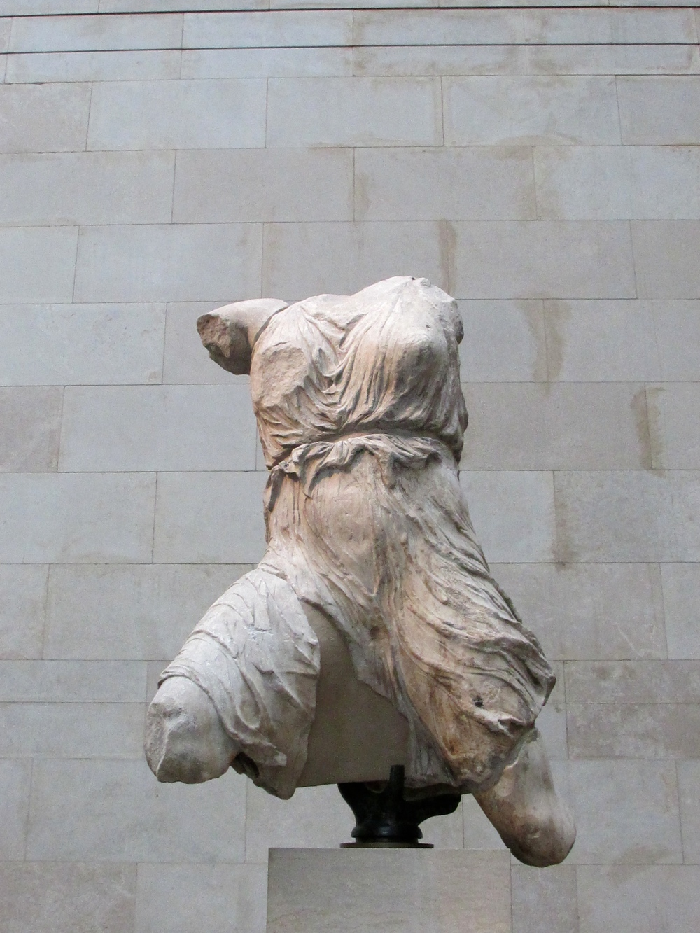 The remaining part of a sculpture from the west pediment of the Parthenon.