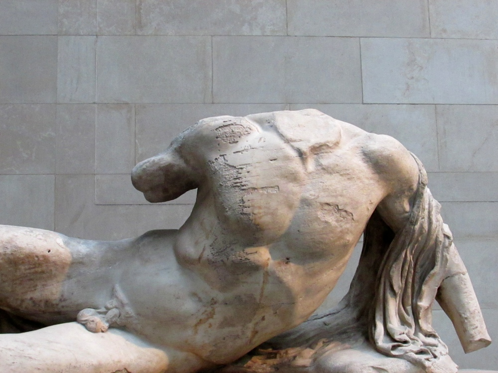 A close up of one of the sculptures from the west pediment