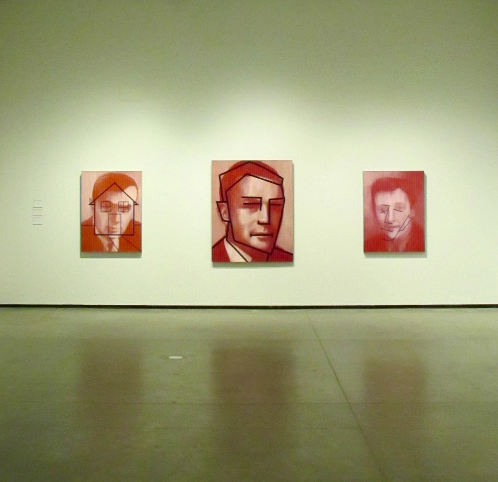 House Head, 2009; Red Man/Black Cartoon, 1990; Awake, 2009