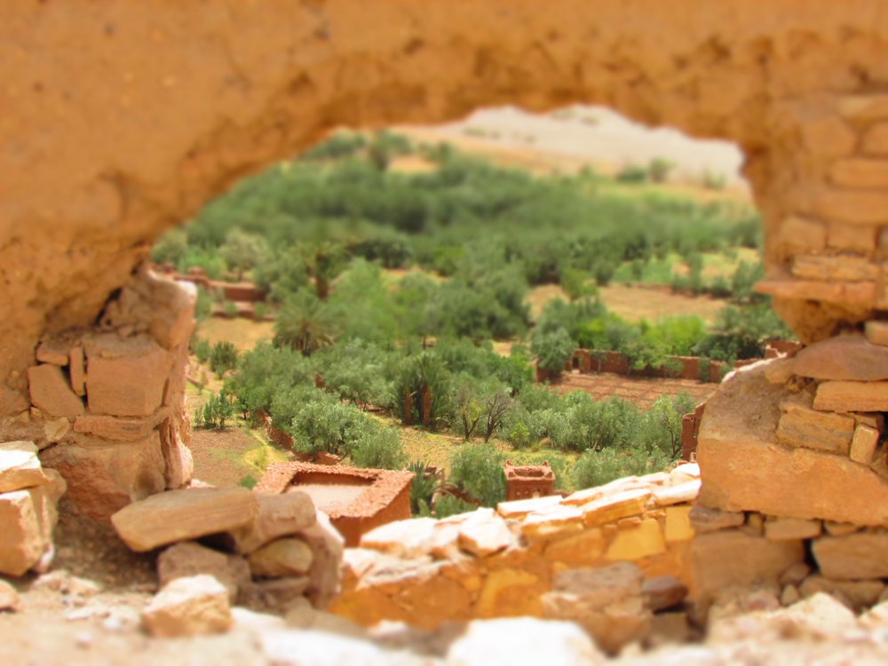 The view through the ruins of Ait Benhaddau in Morocco