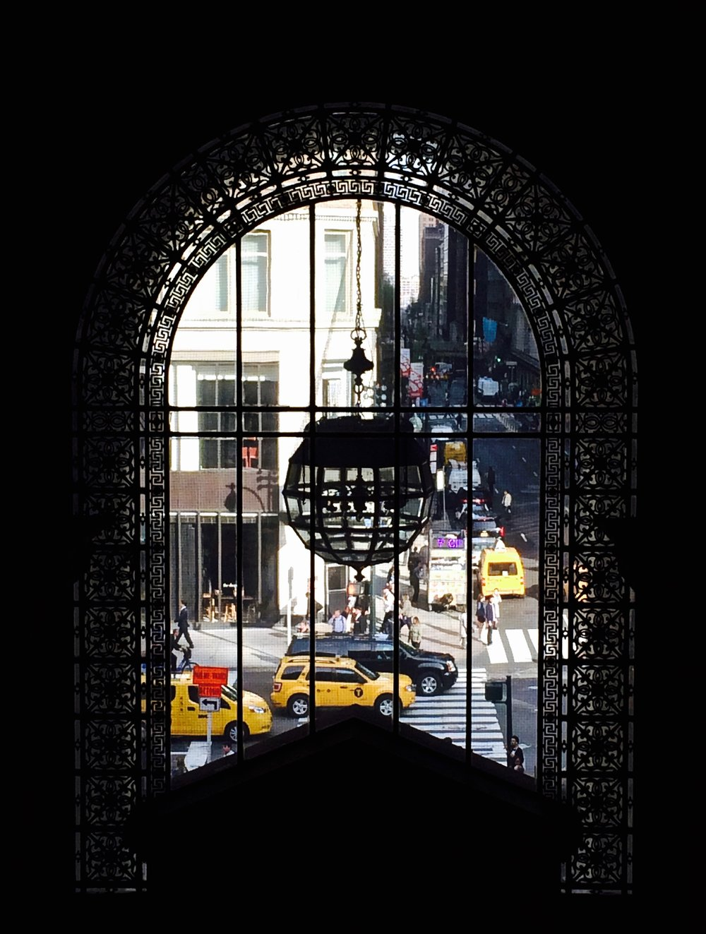 Looking out through one of the windows at the New York Public Library