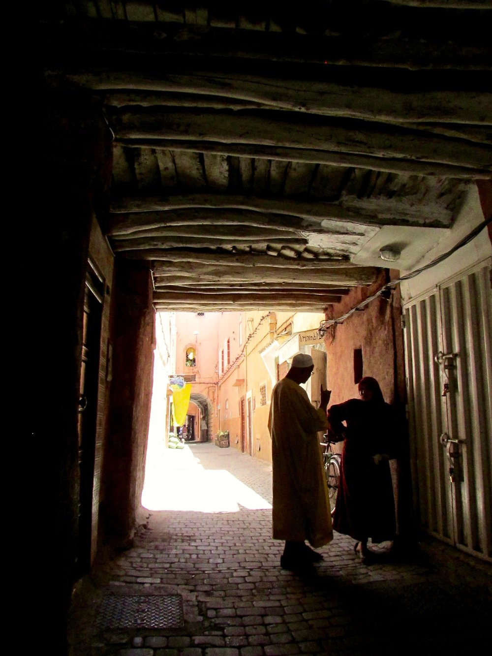 The narrow streets in the Marrakech Medina