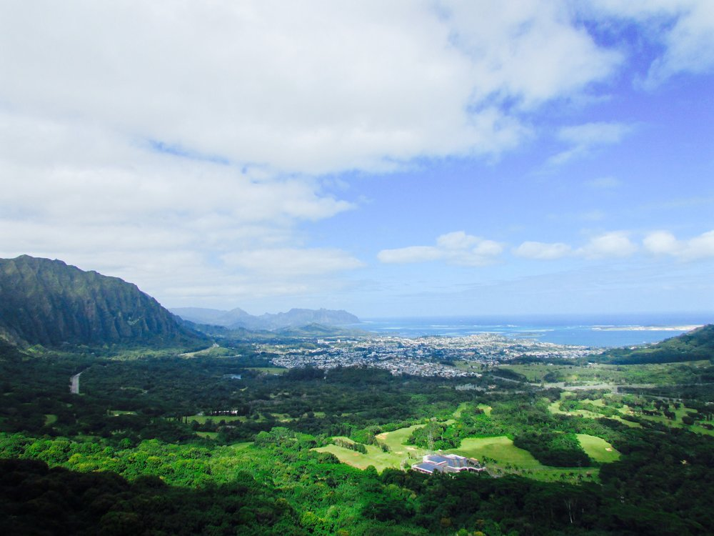 View from the Pali Highway on Oahu