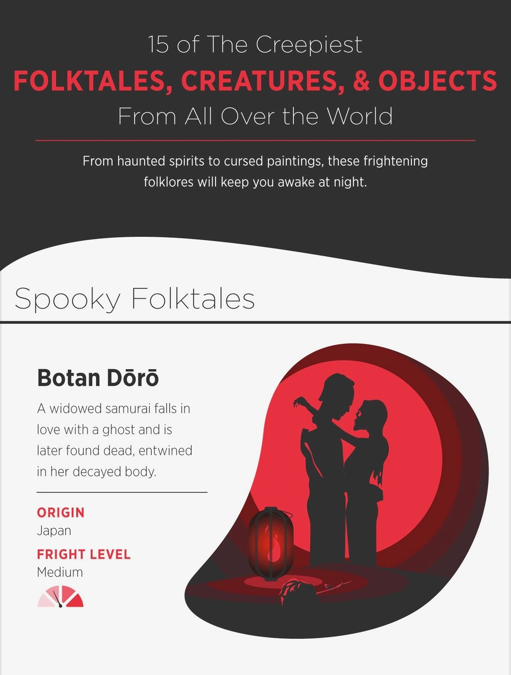 Spooky folktales, creatures, and objects from around the world
