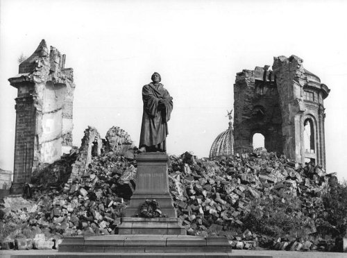 The bombed out Frauenkirche, with statue of Martin Luther