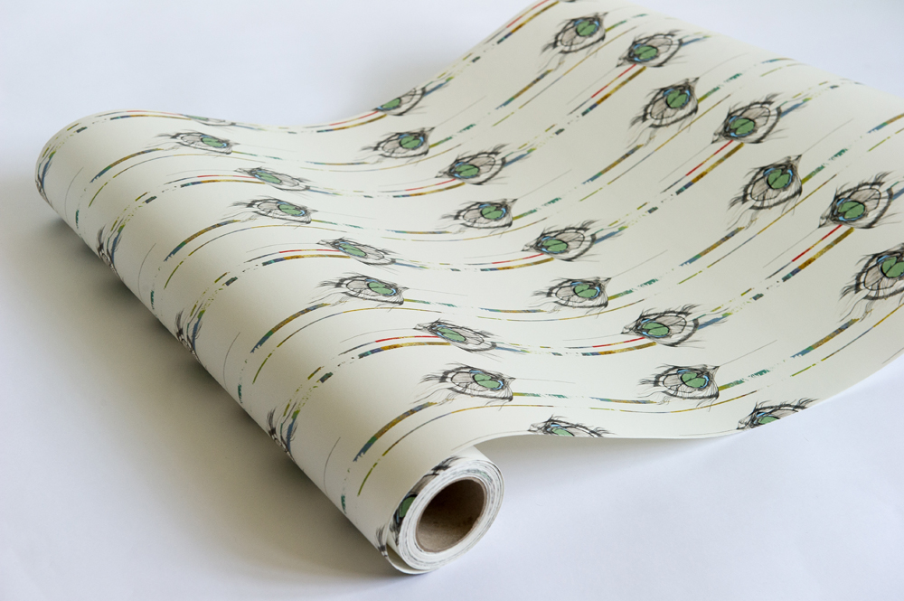 'Undulating Feather' luxury wallpaper