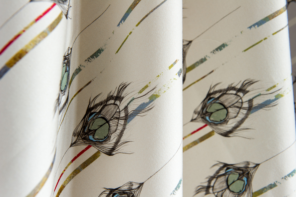 'Undulating Feather' Cotton Satin Fabric