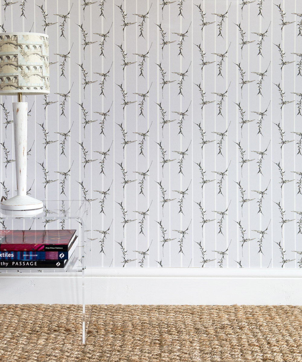 'Stripey Thistle' luxury wallpaper