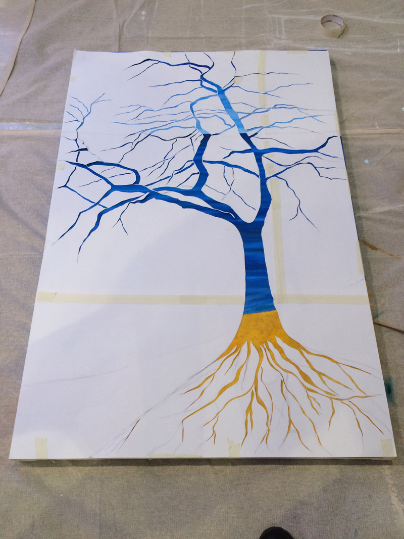 Saturday afternoon, stencilling tree