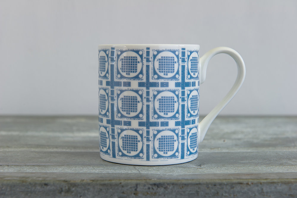 Blue Grid Repeat Bone China Mug