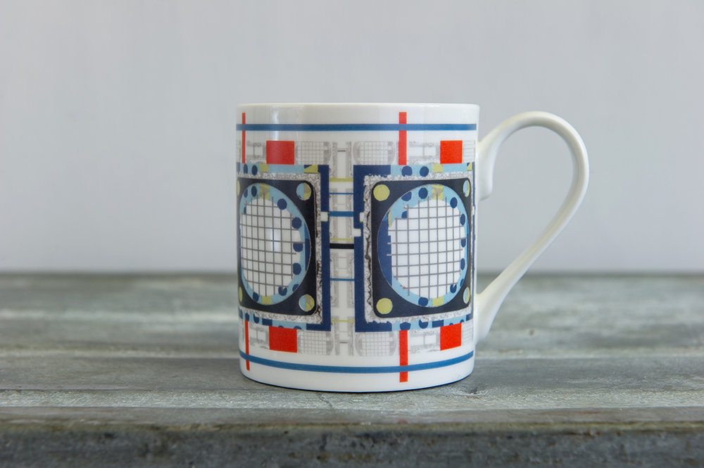 Grid Bone China Mug