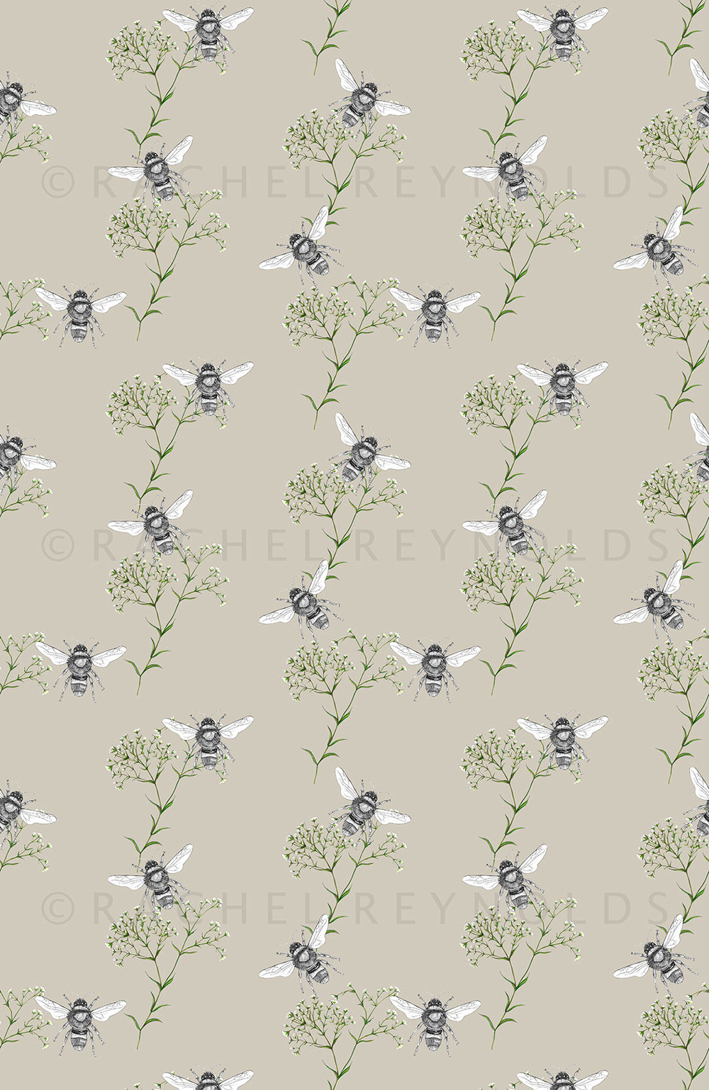 Bee & Gypsophilia Stone Wallpaper