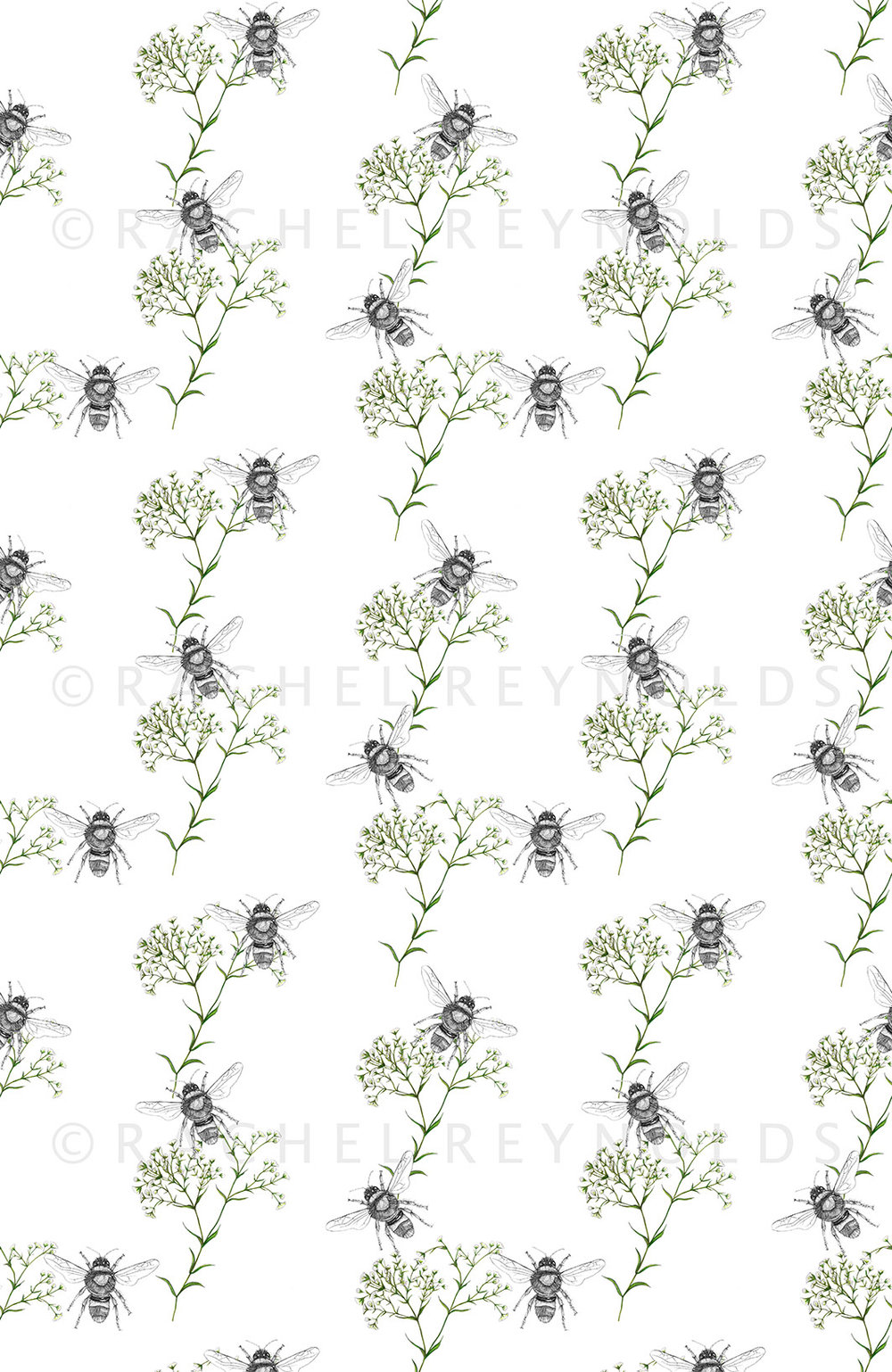 Bee & Gypsophilia White