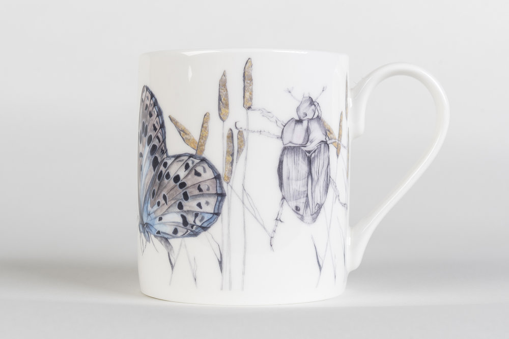 Butterfly & Beetle Bone China Mug