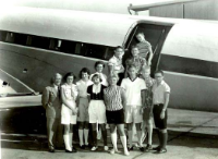 1956 boarding plane for Georgia Meet, Coach E.A. Snapp and Team