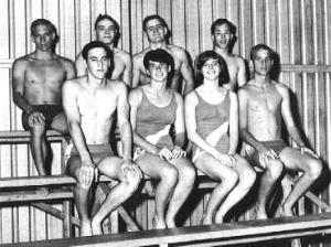 1966 Qualified National Swimmers (Rick Fox, Tommy Suchecki, Jody Helman, Gerry Shoemaker Alan West, Bonnie Skogland, Leilani Essary, Wayland Fowler)
