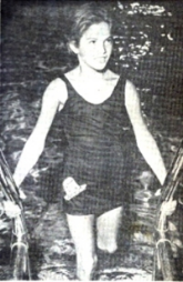 1956 Babs Baker leaves pool after tying U.S. mark In 25-Meter Breaststroke