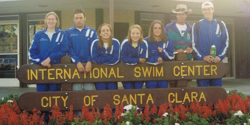 1996 Jr. National Team. Left to right: Shannon O'Neal, Francisco Padua, Kylie Williams, Allison Mahlstedt, Head Coach Mark Boerner and Mark Van Akkeren