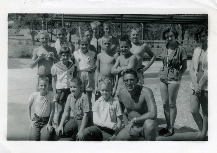 AL SILVA AND MEMBERS OF THE KILLEEN DOLPHEN CLUB, ABOUT 1954.jpg