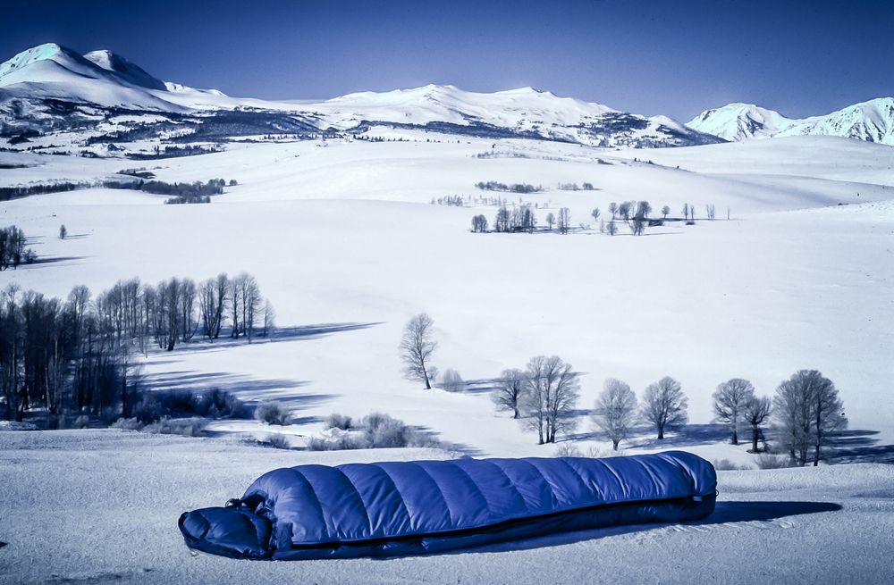Sleeping Bag Product Photograph in the Sierra Nevada Mountains