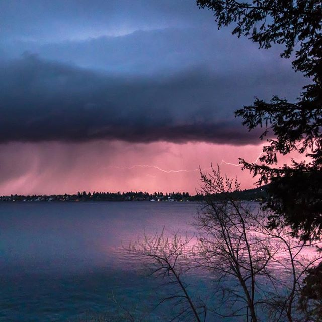 Liberty Lake Lightning Storm… a shockingly colorful sunset Image captured on the iPhone 7 Plus! #lightning #libertylake #washington #iphone7plus #lightroommobile #MARTYhiester