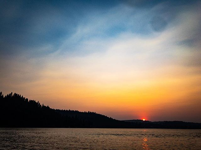 Smoky Northwest Sunset… it's fire season. #MARTYhiester #sunset #summertime #weekend #libertylake #washingtonstate