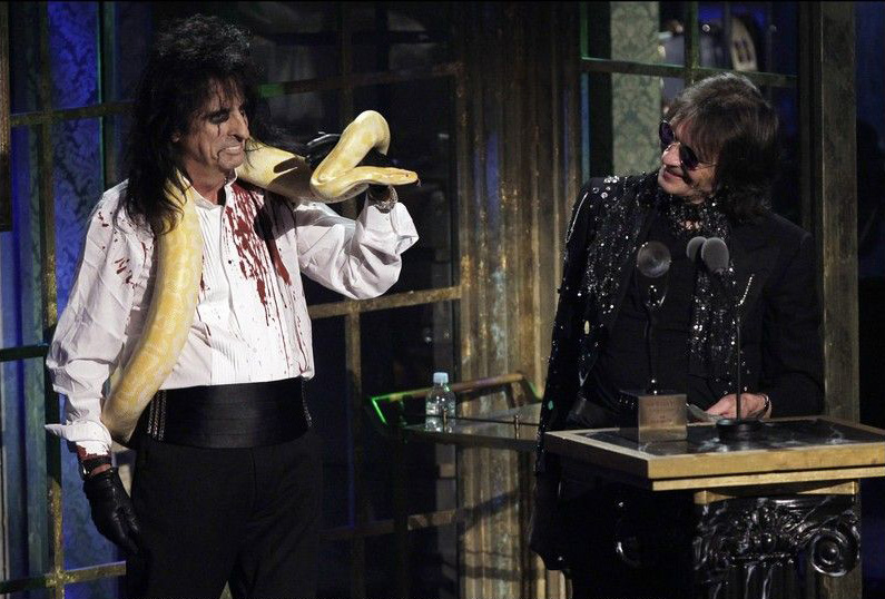 Alice Cooper & Dennis Dunaway being inducted into Rock and Roll Hall of Fame, 2011. © John Angelillo/Photo News.