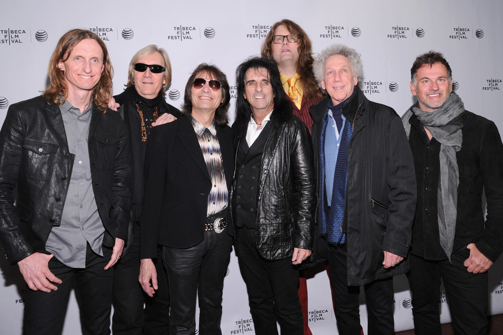 Source: Ilya S. Savenok/Getty Images North America. (L-R) Neal Smith, John Varvatos, Sam Dunn, Dennis Dunaway, Alice Cooper, Reginald Harkema, Scot McFadyen and Bob Gruen attend the 'Super Duper Alice Cooper' Premiere during the 2014 Tribeca Film Festival at Chelsea Bow Tie Cinemas on April 17, 2014 in New York City.