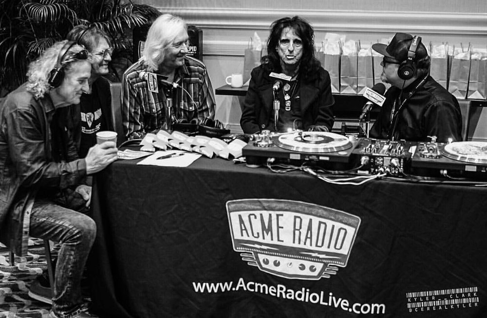 Original Alice Cooper band doing an interview for Acme Radio. Nashville, 2017. L to R, Michael Bruce, Dennis Dunaway, Neal Smith, and Alice Cooper.