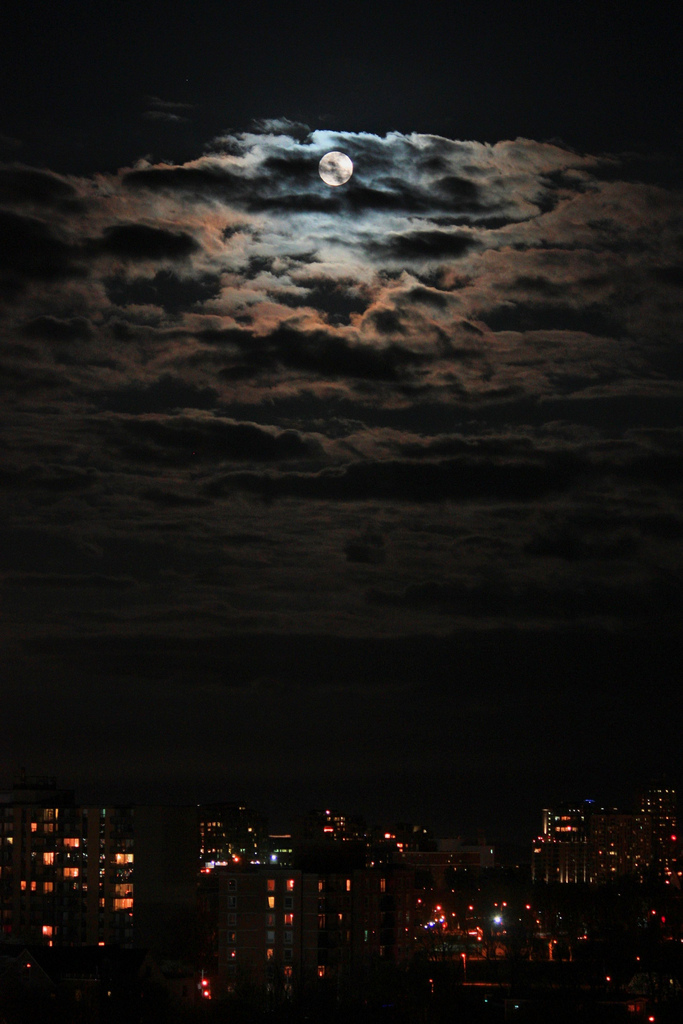 Clouds, moon, city