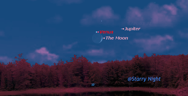 Conjunction of crescent moon, venus and jupiter on July 18 at 9 pm atlantic