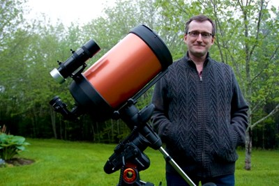 Astrophotographer Art Cole stands next to his Schmidt-Cassegrain telescope at his Hammonds Plains home. (JOHN McPHEE)