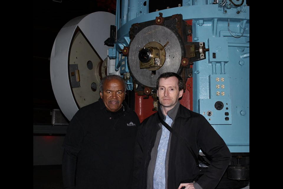 Cole visits with Tom Mason, a telescope operator at Mount Wilson Observatory near Los Angeles, in December 2012.