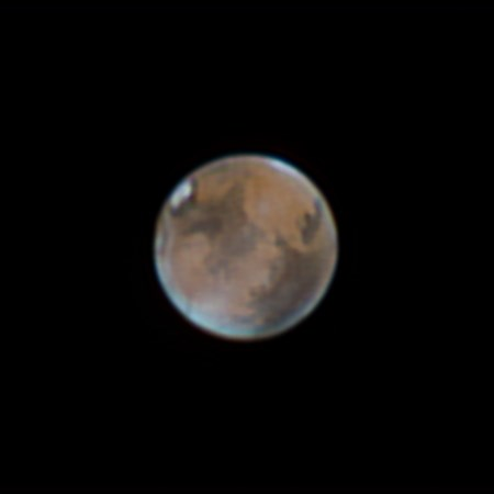 Mars is seen in April 2014. The Red Planet is now about 75 million kilometres from Earth, its closest approach in 13 years. (ART COLE)