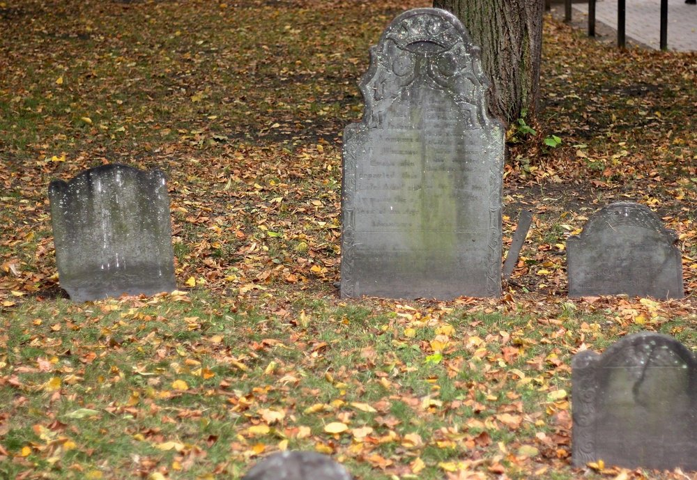 The Granary Burying Ground on Tremont Street in Boston. The stones here date to 1660 and include the graves of Paul Revere and signers of the Declaration of Independence. (JOHN McPHEE)