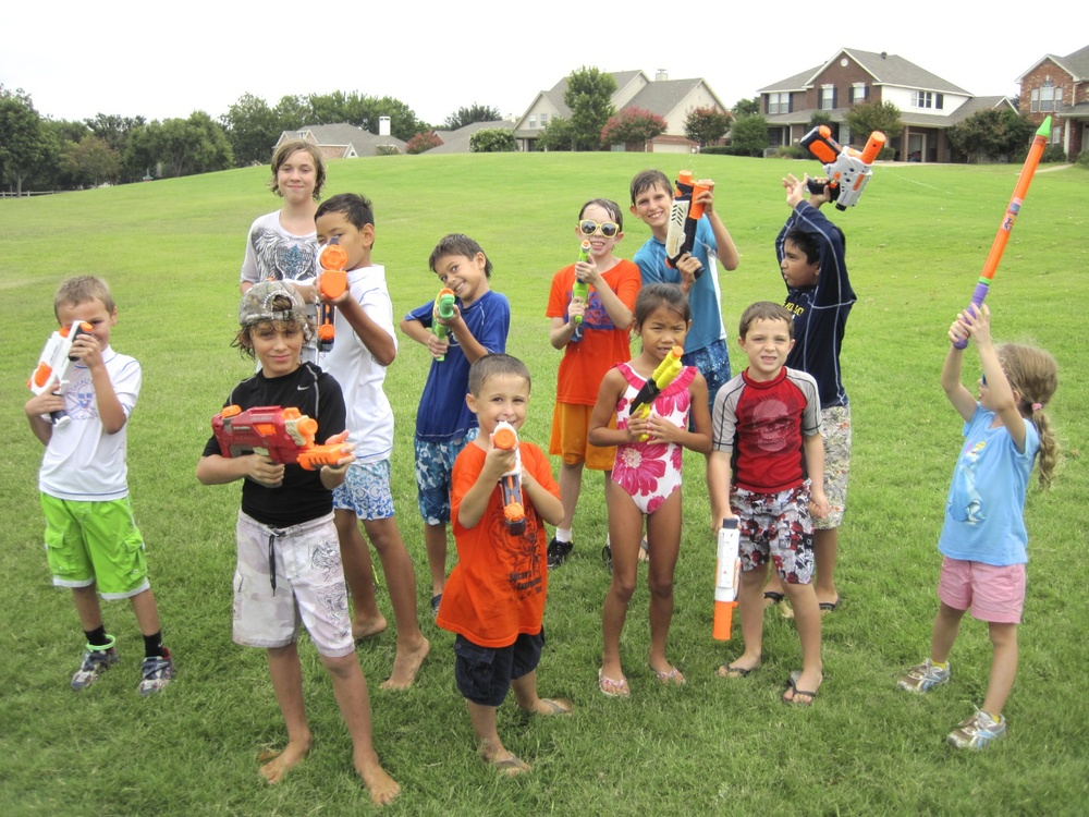 Getting ready for the awesome water gun war.