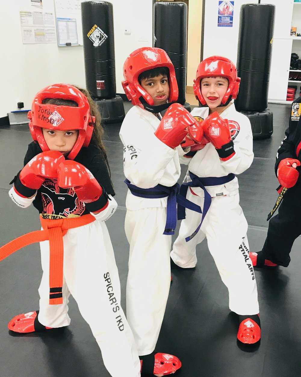 Southlake's martial arts students sparring at testing.