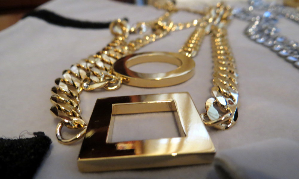 This gold chain necklace doubles as a waist belt (also available in silver)