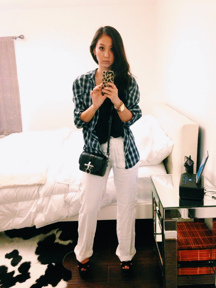 LEVI'S  men's plaid shirt  / ANN TAYLOR  wide-leg pants  / TOPSHOP suede wedges / Givenchy  Obsedia purse