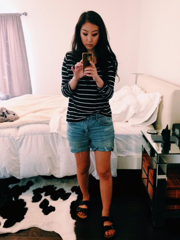 ZARA  striped sweater  / FREE PEOPLE  boyfriend shorts  / BIRKENSTOCK   Arizona sandals