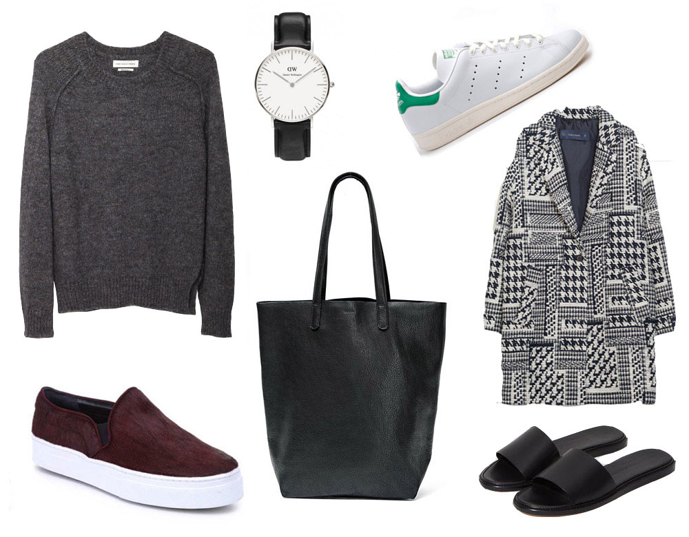 ISABEL MARANT ÉTOILE raya raglan pullover / S & S Schutz Amisha slip-on sneakers / DANIEL WELLINGTON classic Sheffield lady watch / BAGGU basic tote / ADIDAS Stan Smith shoes / ZARA houndstooth wool coat / WOMAN BY COMMON PROJECTS slide sandals